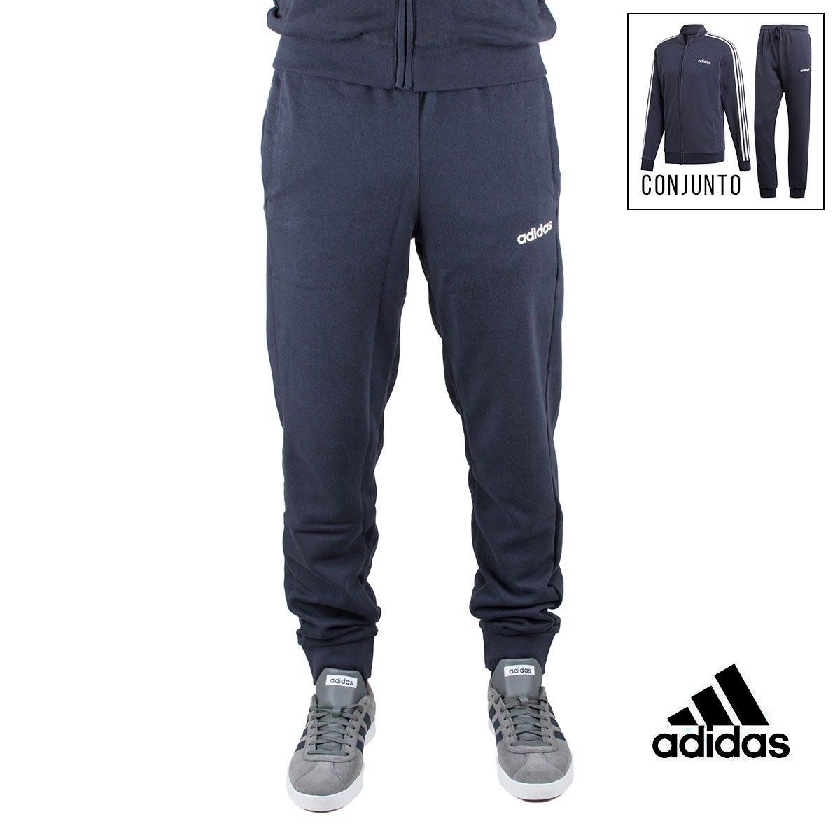 Adidas chándal conjunto Tracksuit Cotton Relax Marino hombre