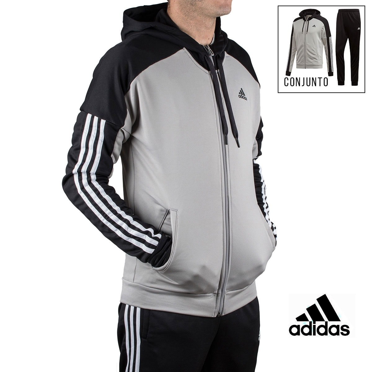 Adidas chándal conjunto Game Time Gris Negro hombre