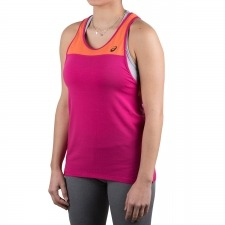 Asics camiseta tirantes Loose Strappy Tank Pink Orange Rosa mujer