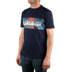 Napapijri camiseta Salka Blu Marine Azul Marino Camuflaje Fantasy Hombre