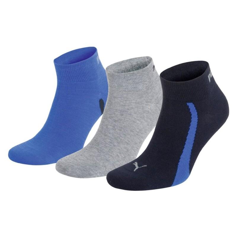 Puma Calcetín Quarter Tricolor Azul Navy Grey Strong Blue (pack 3 pares)