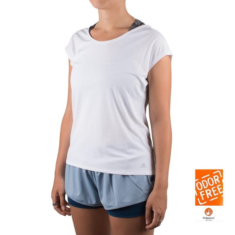 Salomon camiseta Comet Flow Tee W blanco mujer