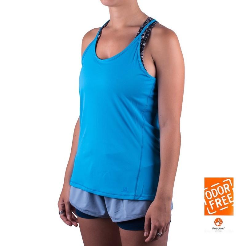 Salomon camiseta tirantes Comet Flow Tank Azul mujer