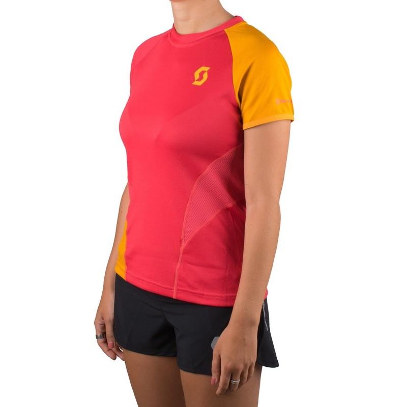 Scott Camiseta Manga Corta Trail Run Crew Magenta Naranja Mujer