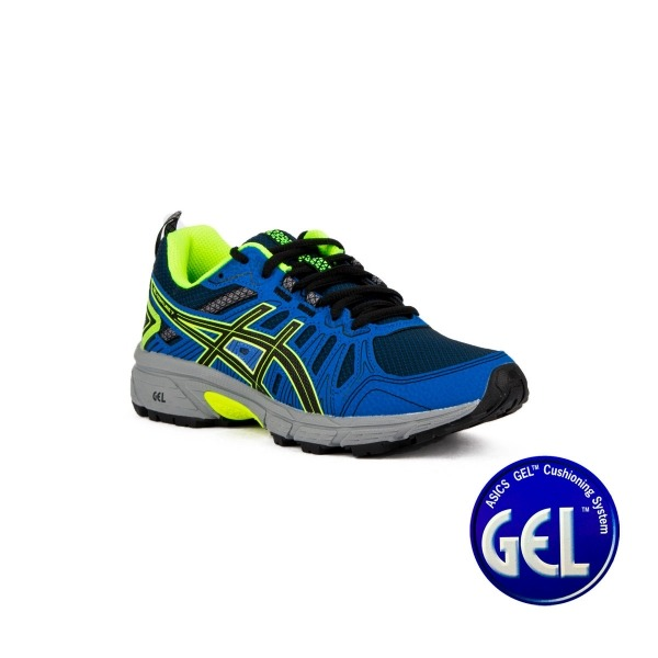 Asics Gel Venture 7 GS Black Safety Yellow Azul Neon Niño