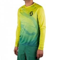 Scott Camiseta Manga Larga Kinabalu Run Amarilla Verde Hombre