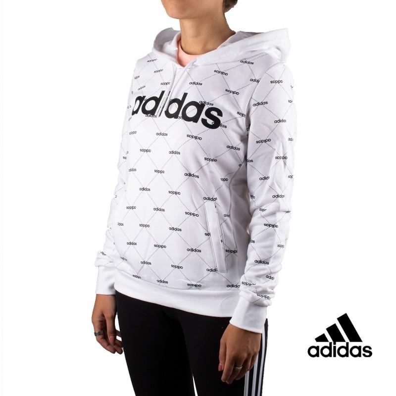 Adidas Sudadera co Capucha Linear Graphic Mujer