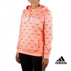 Adidas Sudadera Con Capucha Linear Graphic Coral Mujer