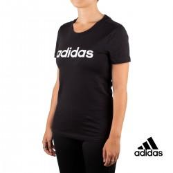 Adidas Camiseta Essentials Linear Negra Mujer