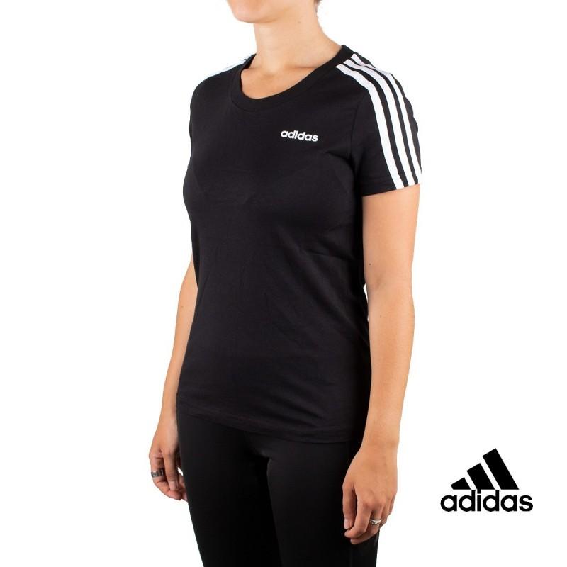 Adidas Camiseta Essentials 3 Bandas Negra Mujer