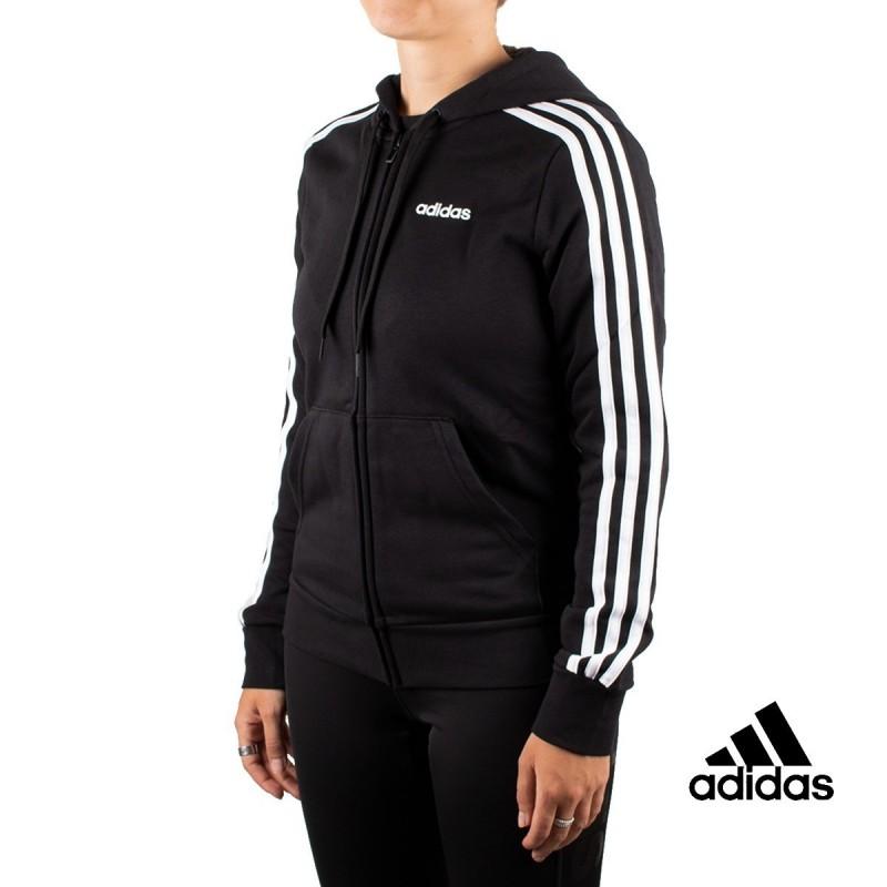 Fraude Hacer deporte Conductividad  Adidas Chaqueta Con Capucha Essentials 3 Bandas Negra Mujer