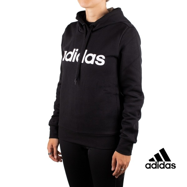 Adidas Sudadera Con Capucha Essentials Linear Over Head Fleece Hoodie Negra  Mujer