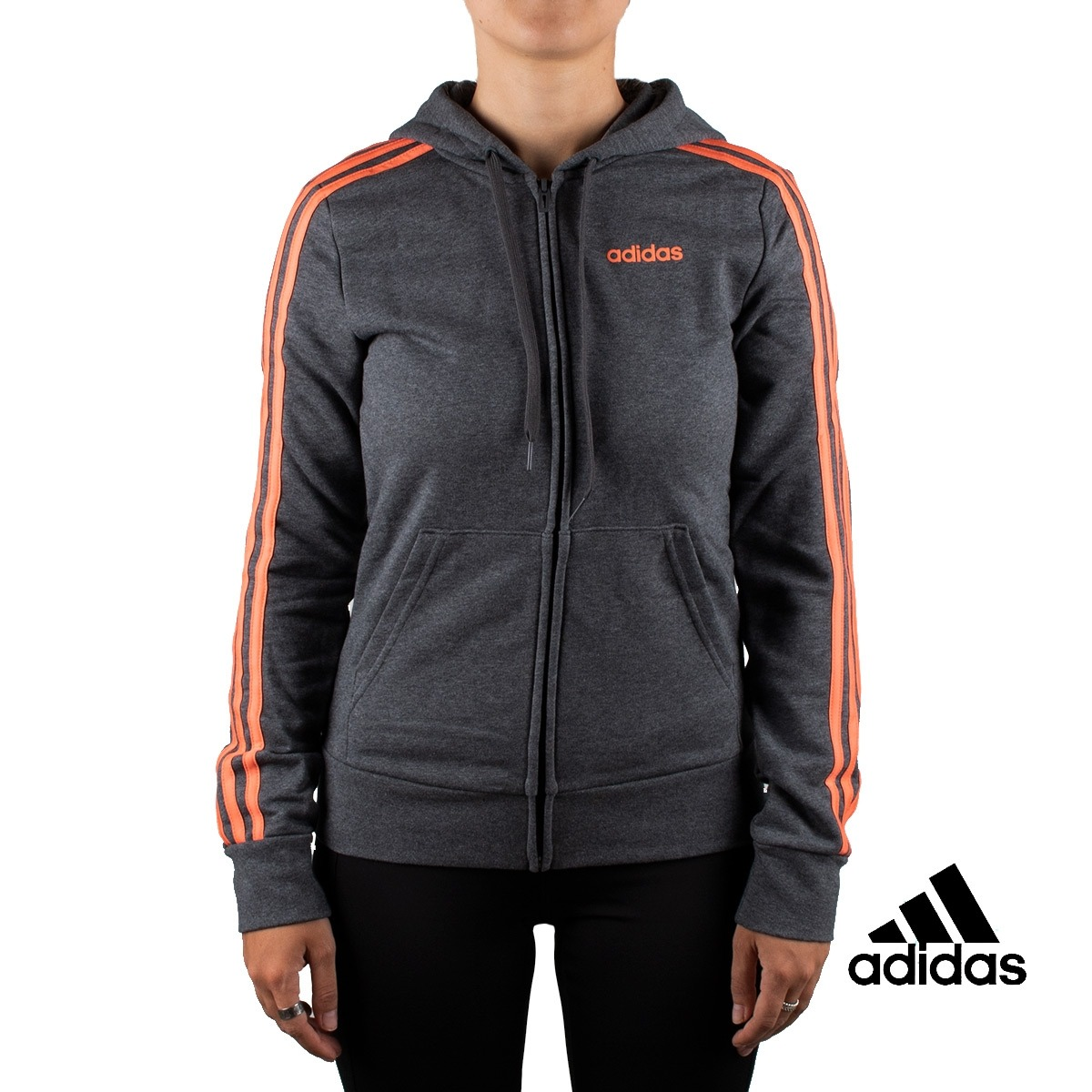 Adidas Chaqueta Con Capucha Essentials 3 Stripes Full Zip Gris Mujer