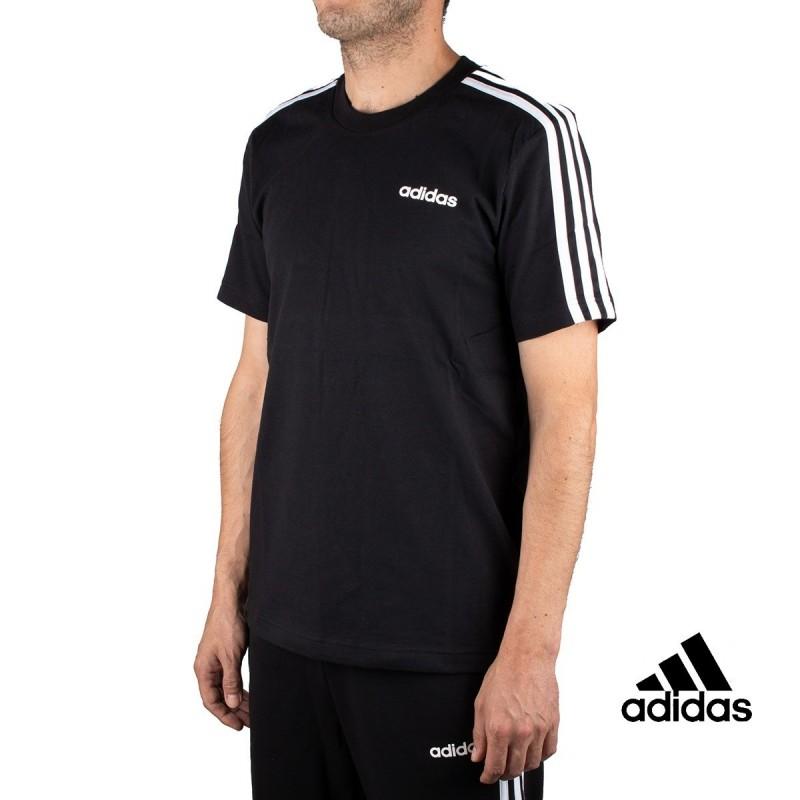 Adidas Camiseta Essentials 3 Stripes T-Shirt Negra Hombre