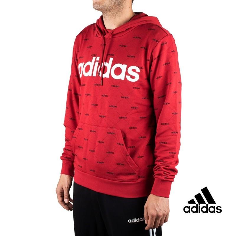 Adidas Sudadera Con Capucha Linear Graphic Granate Hombre