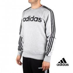 Adidas Sudadera E 3S CREW FL Gris Rayas Negras Hombre