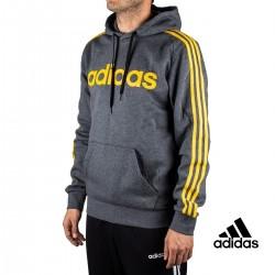 Adidas Sudadera Con Capucha E 3S PO FL Gris Rayas Amarillas Hombre