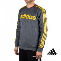 Adidas Sudadera E 3S CREW FL Gris Rayas Amarillas Hombre