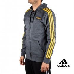 Adidas Chaqueta E 3S FZ FL Gris Rayas Amarillas Interior Polar Hombre