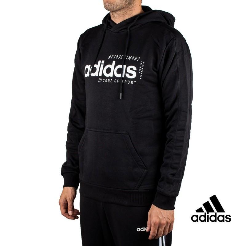 Adidas Sudadera Con Capucha M BB HDY Negra Letras Blancas Hombre