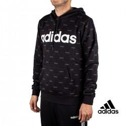 Adidas Sudadera Con Capucha Linear Graphic Negra Hombre