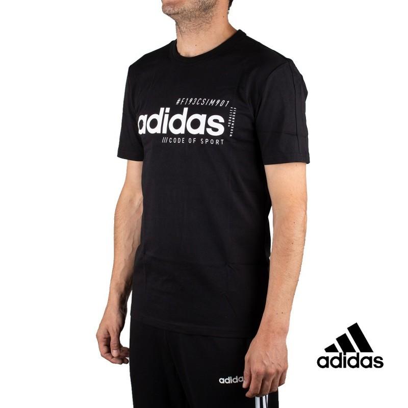Adidas Camiseta Essentials Linear Logo Texto Negra Hombre