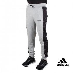 Adidas Pantalón Linear Graphic Gris Banda Negra Patron Hombre