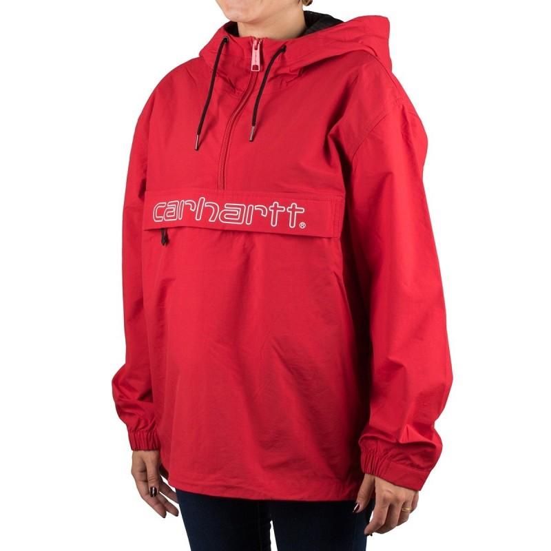 Carhartt Canguro Script Pullover Cardinal White Rojo Mujer PV19