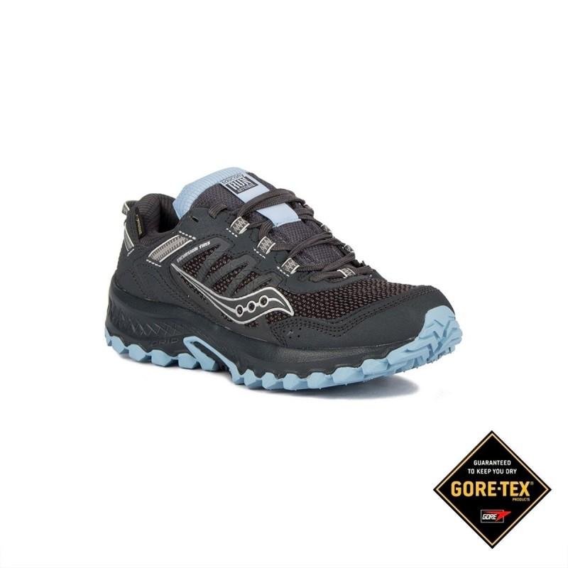 Saucony Grid Excursion 13 GTX Vesafoam Black Blue Negro Azulo Cielo Mujer