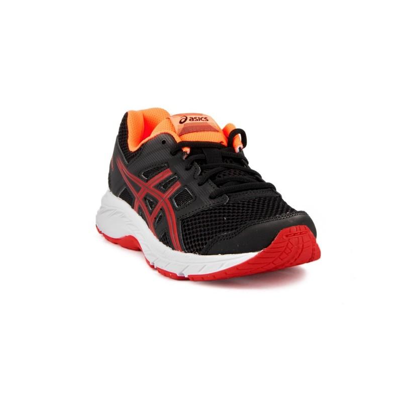 Asics Contend 5 GS Black Speed Red Negro Rojo Naranja Fluor Niño