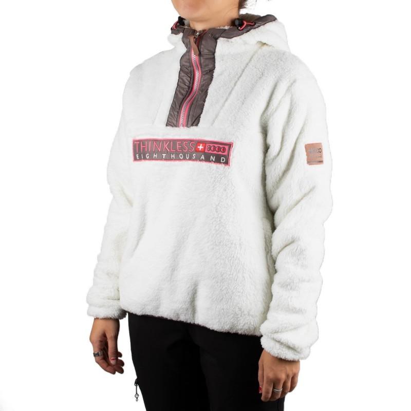 +8000 Sudadera Canguro Huayna 19I Crudo Blanco Marrón Rosa Mujer