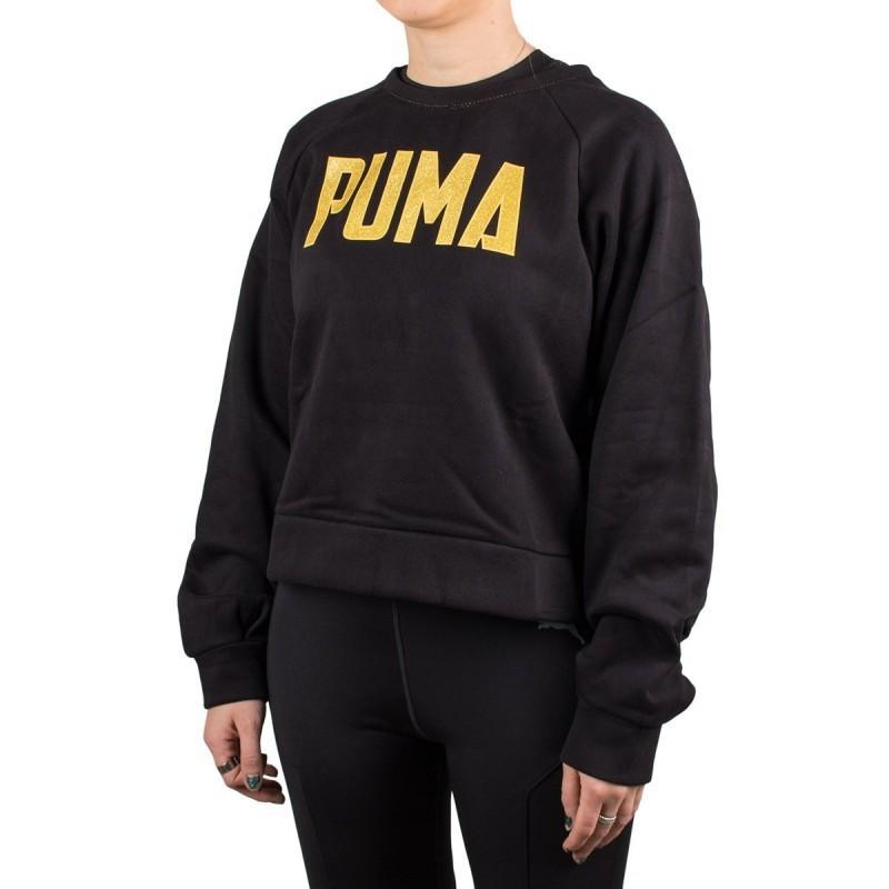 Puma Sudadera Athletics Crew Sweat Puma Black Negro Dorado Mujer