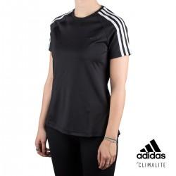 Adidas Camiseta Design 2 Move 3 Bandas Negro Mujer