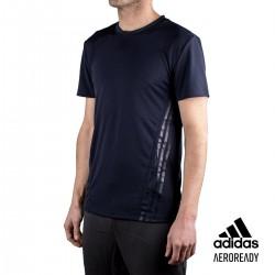 ADIDAS Camiseta Aerodry 3 bandas Azul Hombre
