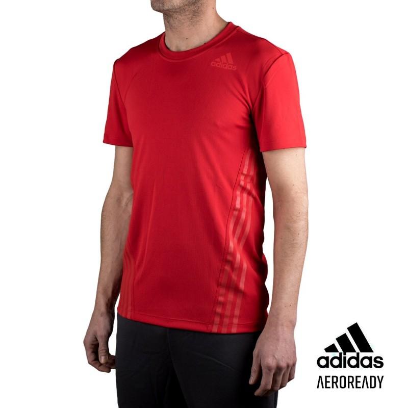 Adidas Camiseta Aerodry 3 bandas Rojo Hombre