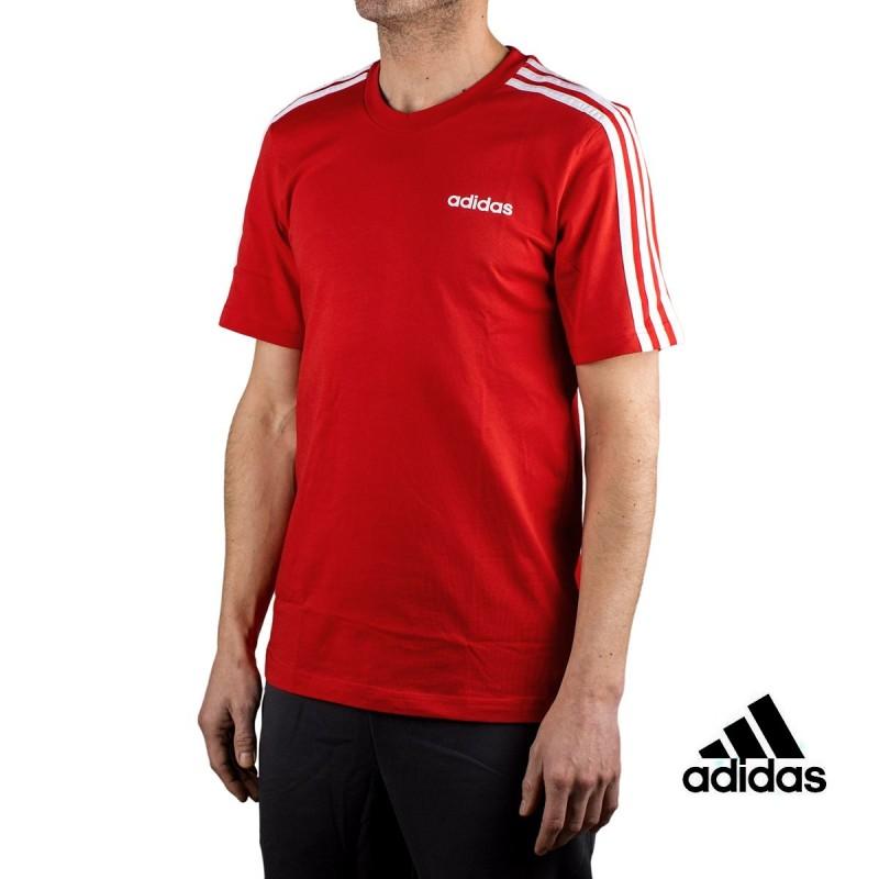 Adidas Camiseta Essential 3 bandas Rojo Hombre