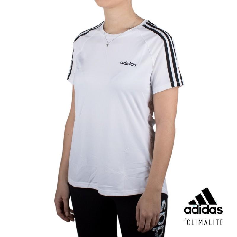 Adidas Camiseta Design 2 Move 3 Bandas Blanco Mujer