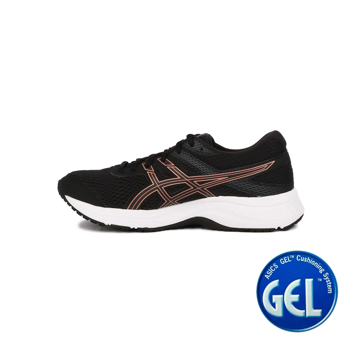 Asics Contend 6 Black Rose Gold Mujer