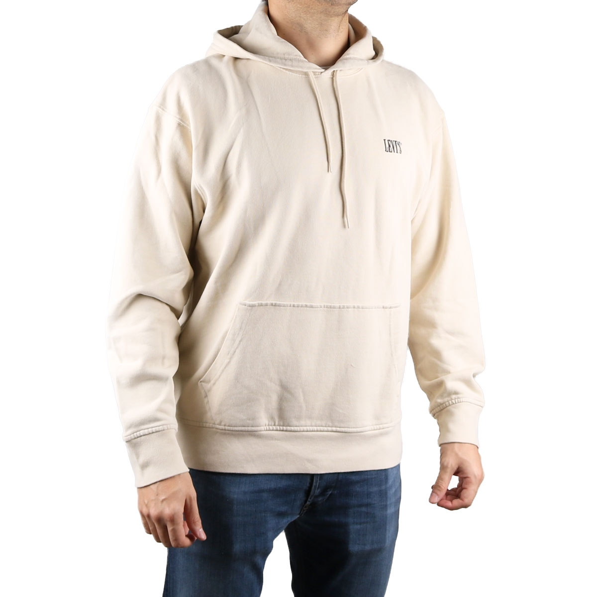 Levis Sudadera Authentic Hoodie NEUTRAL - FOG/ MINERAL Blanco Hombre