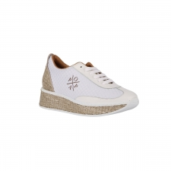 Popa Zapatilla Sneaker Antofalla Rafia beige blanca Mujer