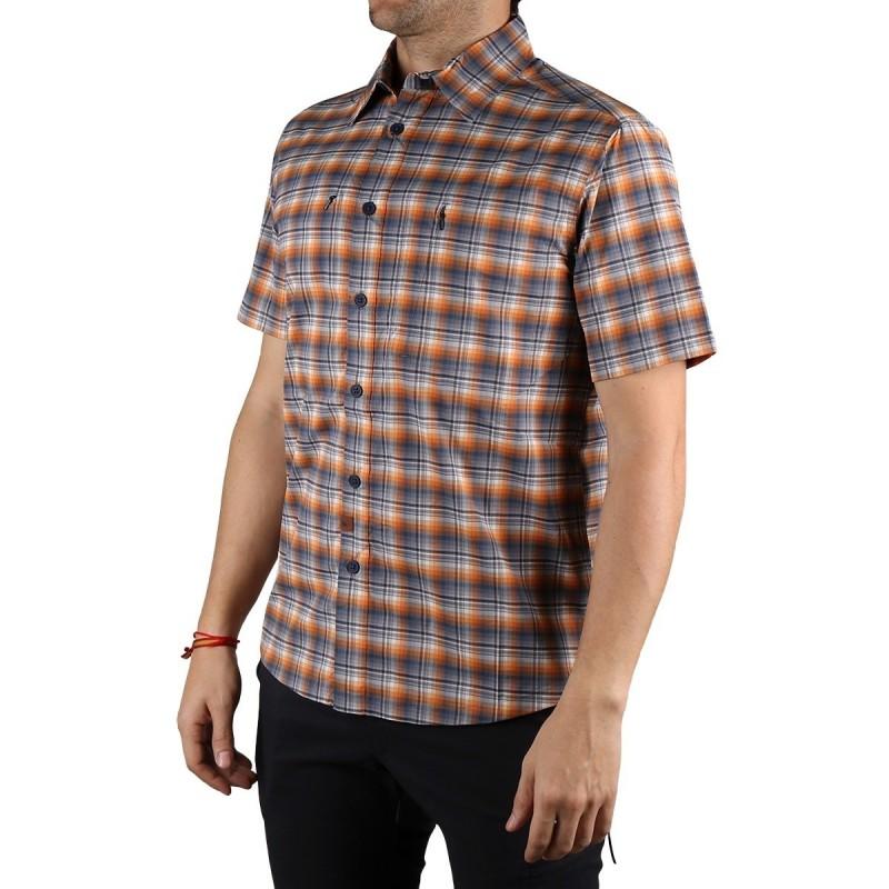 Trangoworld Camisa Manga Corta Aiguallut Azul Naranja Gris Hombre