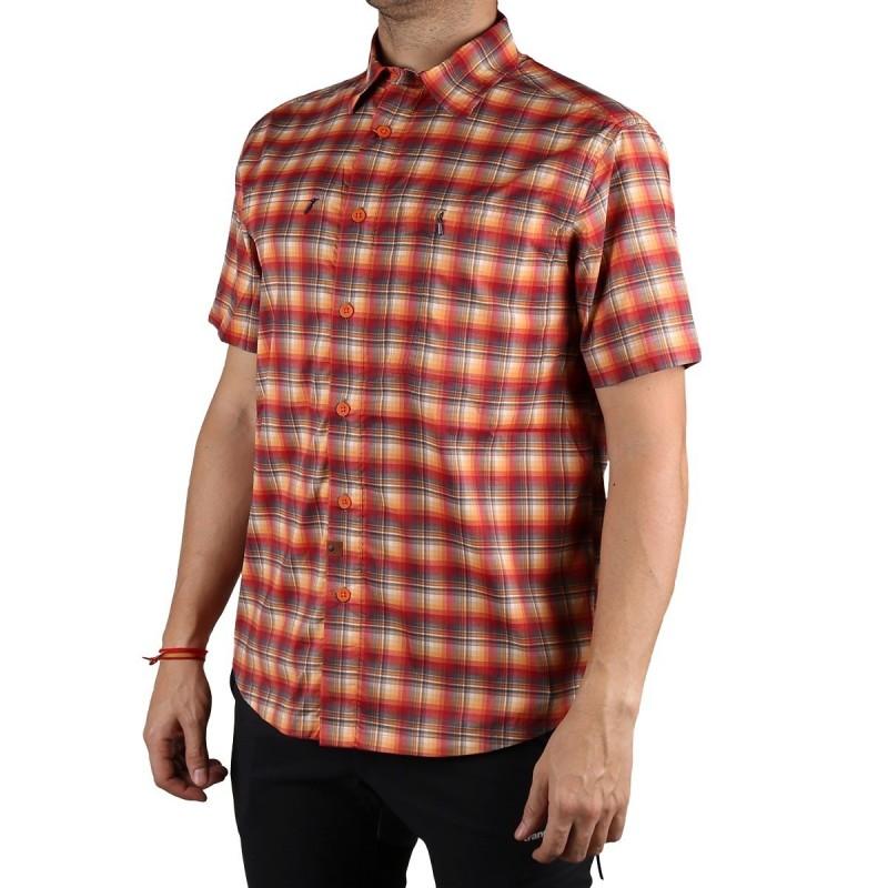 Trangoworld Camisa Manga Corta Aiguallut Rojo Hombre
