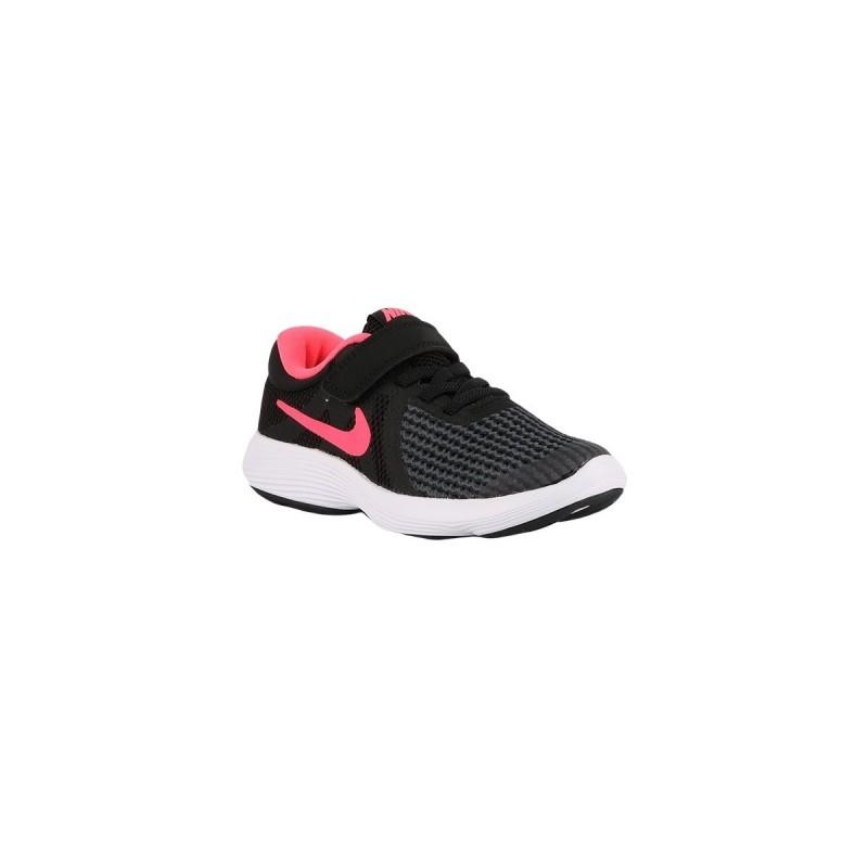 Nike Revolution 4 PSV Black Racer Pink White Negro Rosa Niño