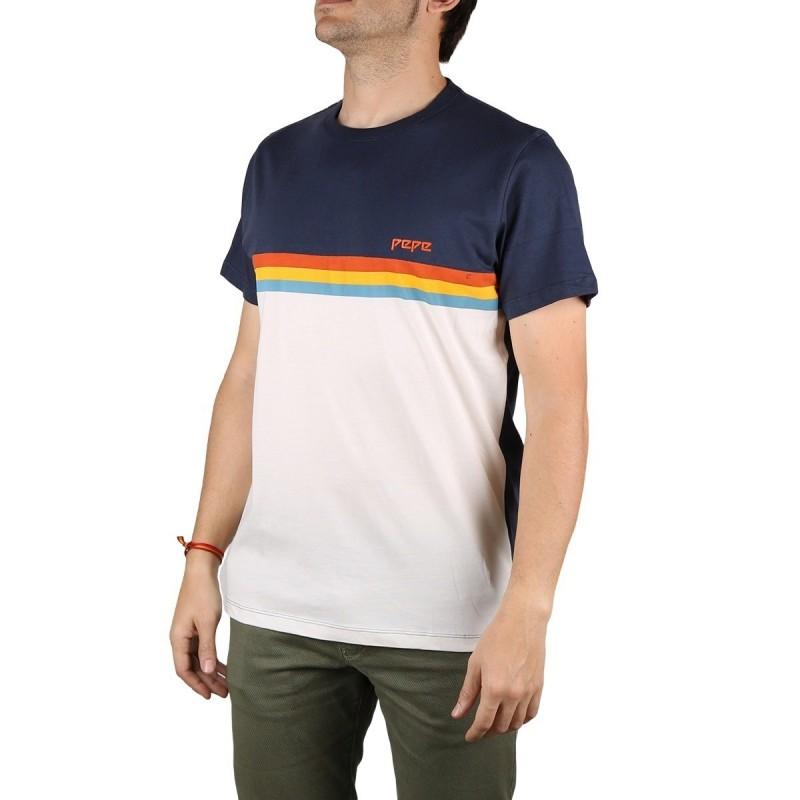 Pepe Jeans Camiseta Trey Off White Azul Blanco Hombre