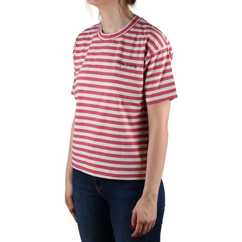 Pepe Jeans Camiseta Claire Red Dahlia Rayas Rojo Mujer
