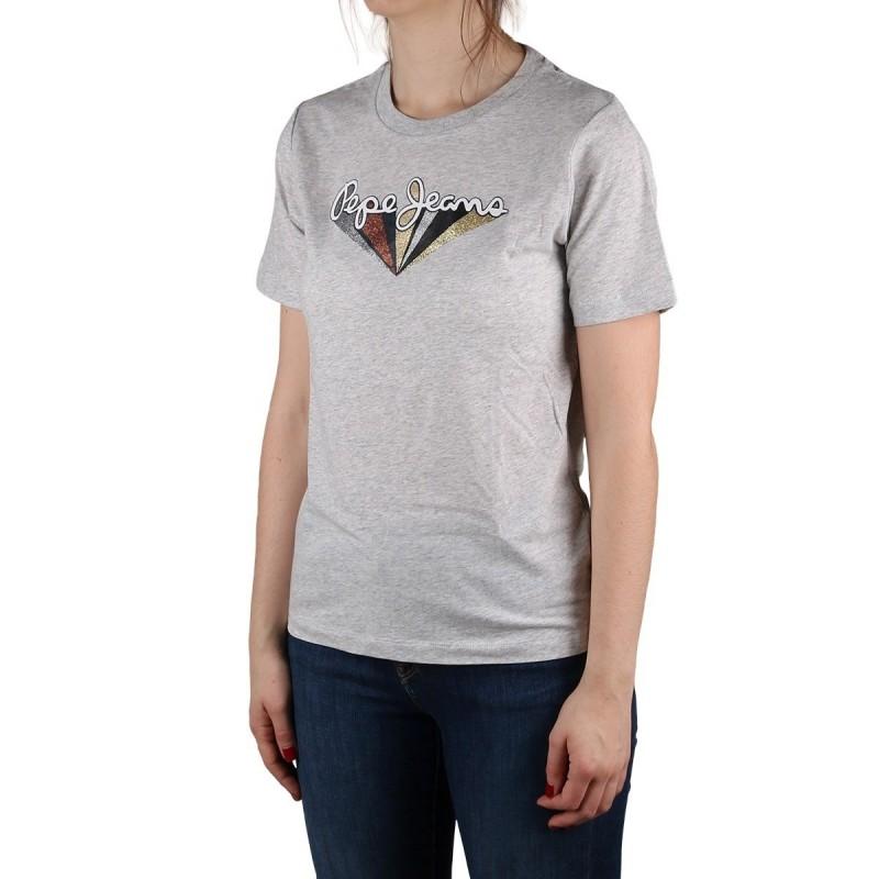 Pepe Jeans Camiseta Brioni Grey Marl Logo Glitter Gris Mujer