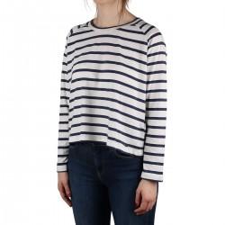 Pepe Jeans Camiseta Evelyn Dark Ocean Rayas Azul Mujer