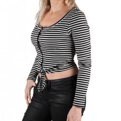Pepe Jeans Camiseta Falbala Black Rayas Nudo Negro Mujer