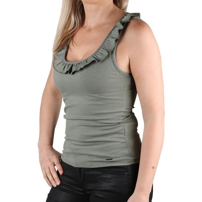 Pepe Jeans Camiseta tirantes Diane Thyme Volante Verde Caqui Mujer