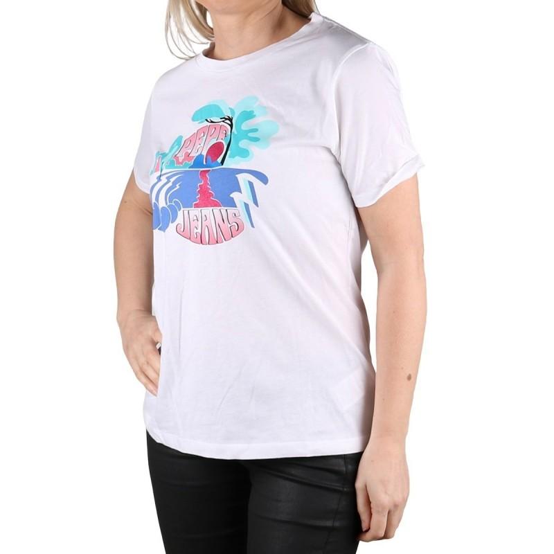 Pepe Jeans Camiseta Faith Optic White Blanco Atardecer Purpurina Mujer